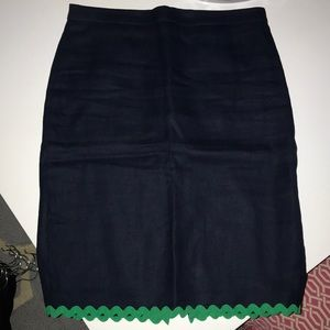 J Crew Navy linen skirt with cotton lining.